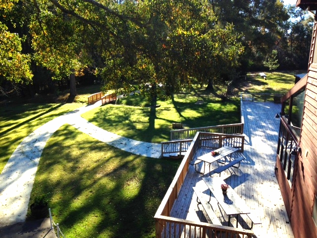 A view of the deck from above.