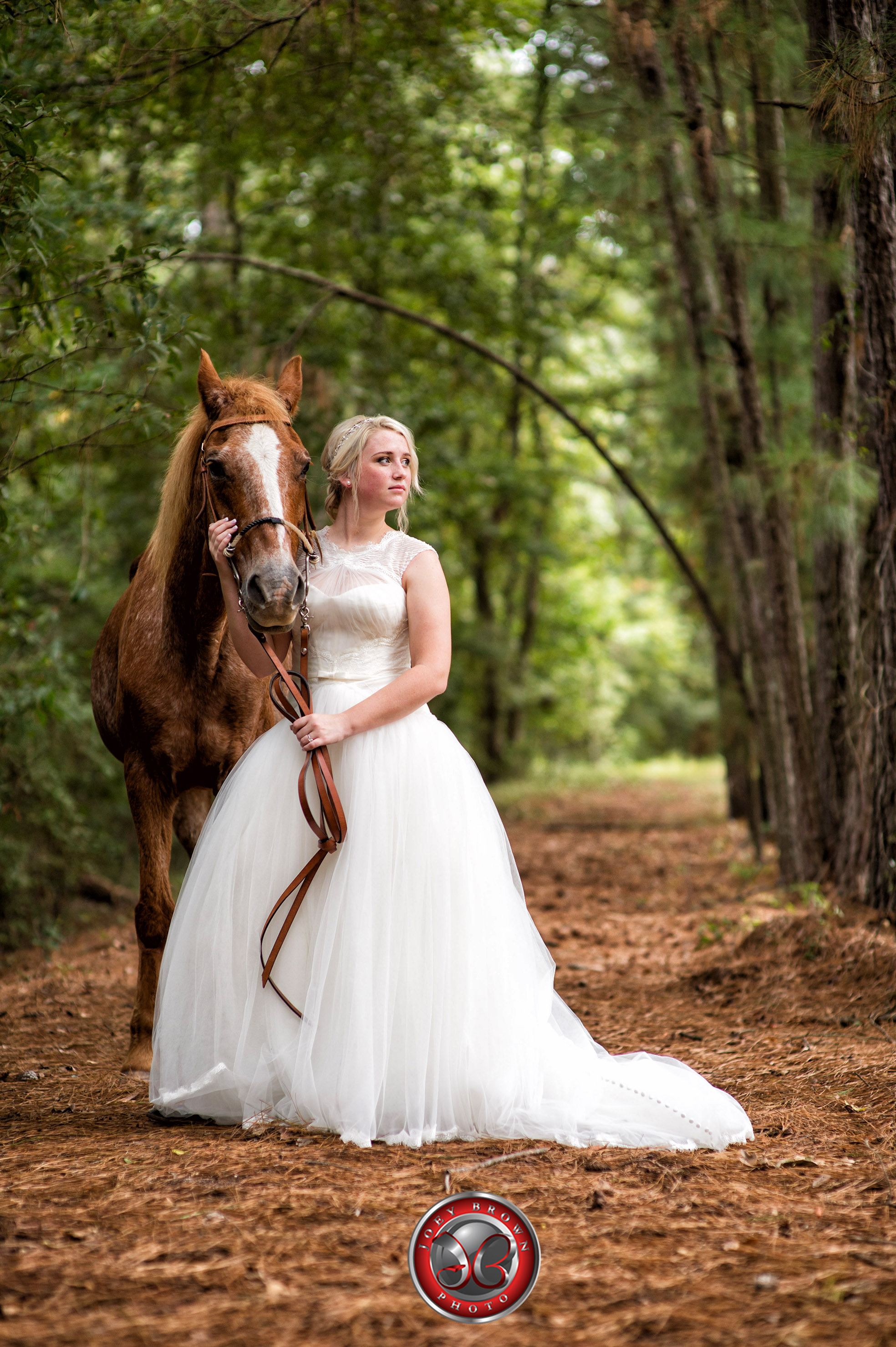A gorgeous bride poses in forest with her long time friend during her Bridal Shoot.