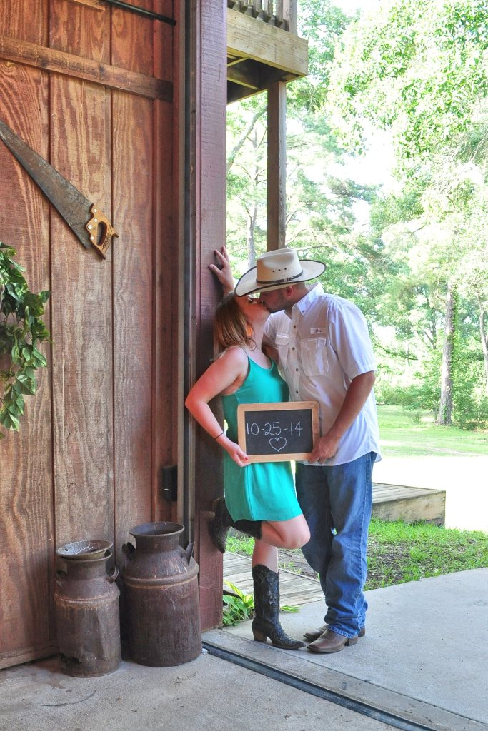 A couple enjoys a kiss in our breezeway during their Bridal Shoot.