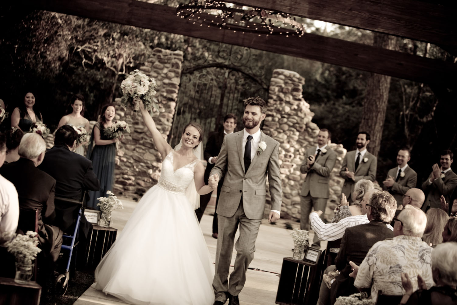 """A picture of one of our fantastic weddings featuring the beautiful bride and her handsome groom after the big """"I-do's""""."""