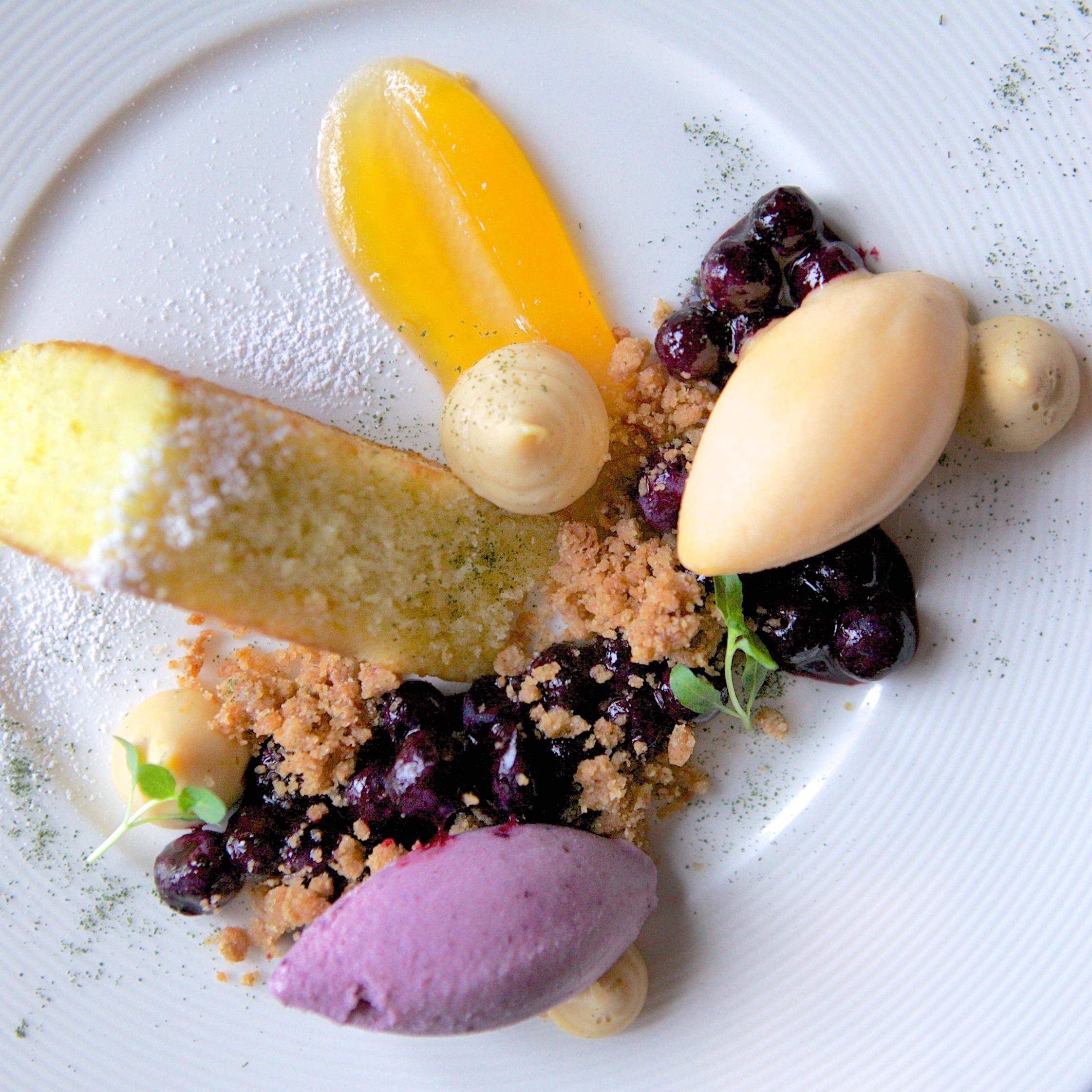 Above: Executive Pastry Chef Brian's never-ending amazing dessert creations! Lemon and vanilla bean poundcake, lemon verbena-blueberry sorbet, banana sorbet, fresh blueberry compote, shortbread crumble...