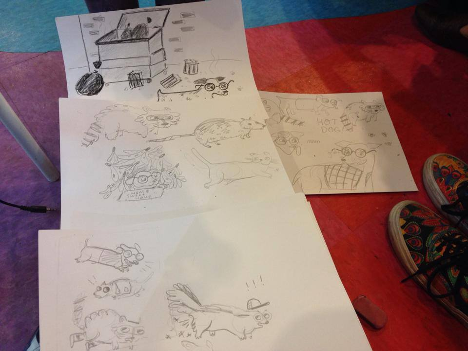 "Here are my initial sketched from the kids' ideas they were giving our director, Doug, and the ""typist"", Eliza"".  Second graders, by the way, are idea machines! It was very difficult to keep up with them they kept adding more and more awesome details to the story's characters and setting."
