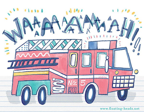Illustration of the firetruck I created for the show.