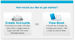 Once logged in, you can get started by creating accounts for other people who are going to help you with your yearbook or going directly to your pages.