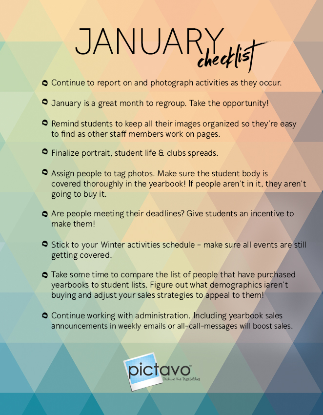 yearbook checklist