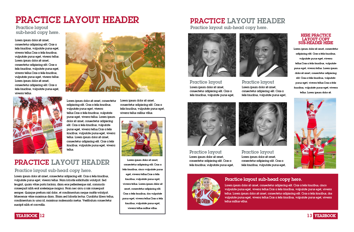 Practice layout created using Pictavo. Same basic design elements applied to a yearbook layout, inspired by, but not identical to, the layout above.