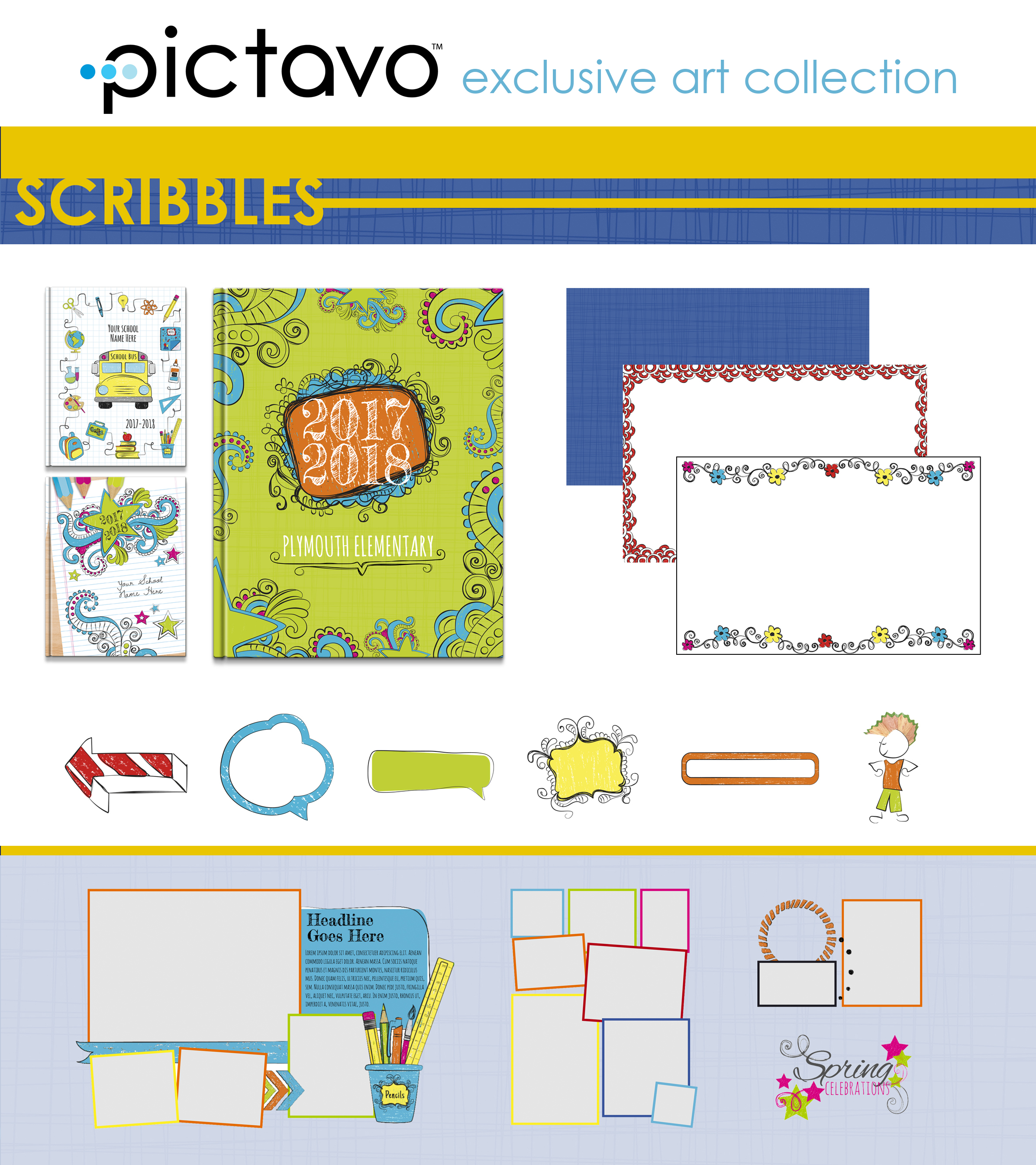 Filled with hand-drawn doodles and whimsy, the SCRIBBLES collection is a fun, unique style to pair with your photos and stories from the year!