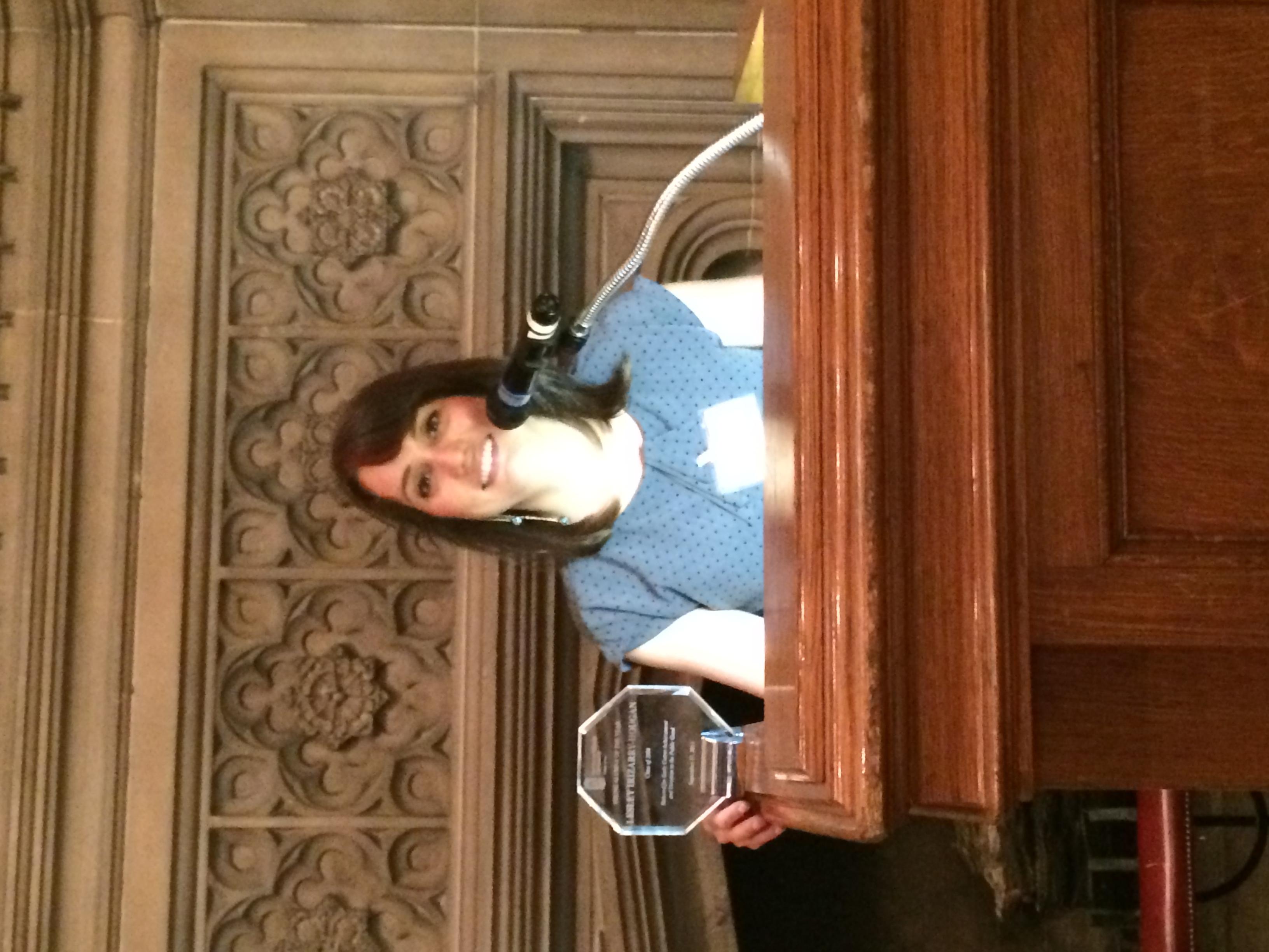 Lesley with NIU Law Award
