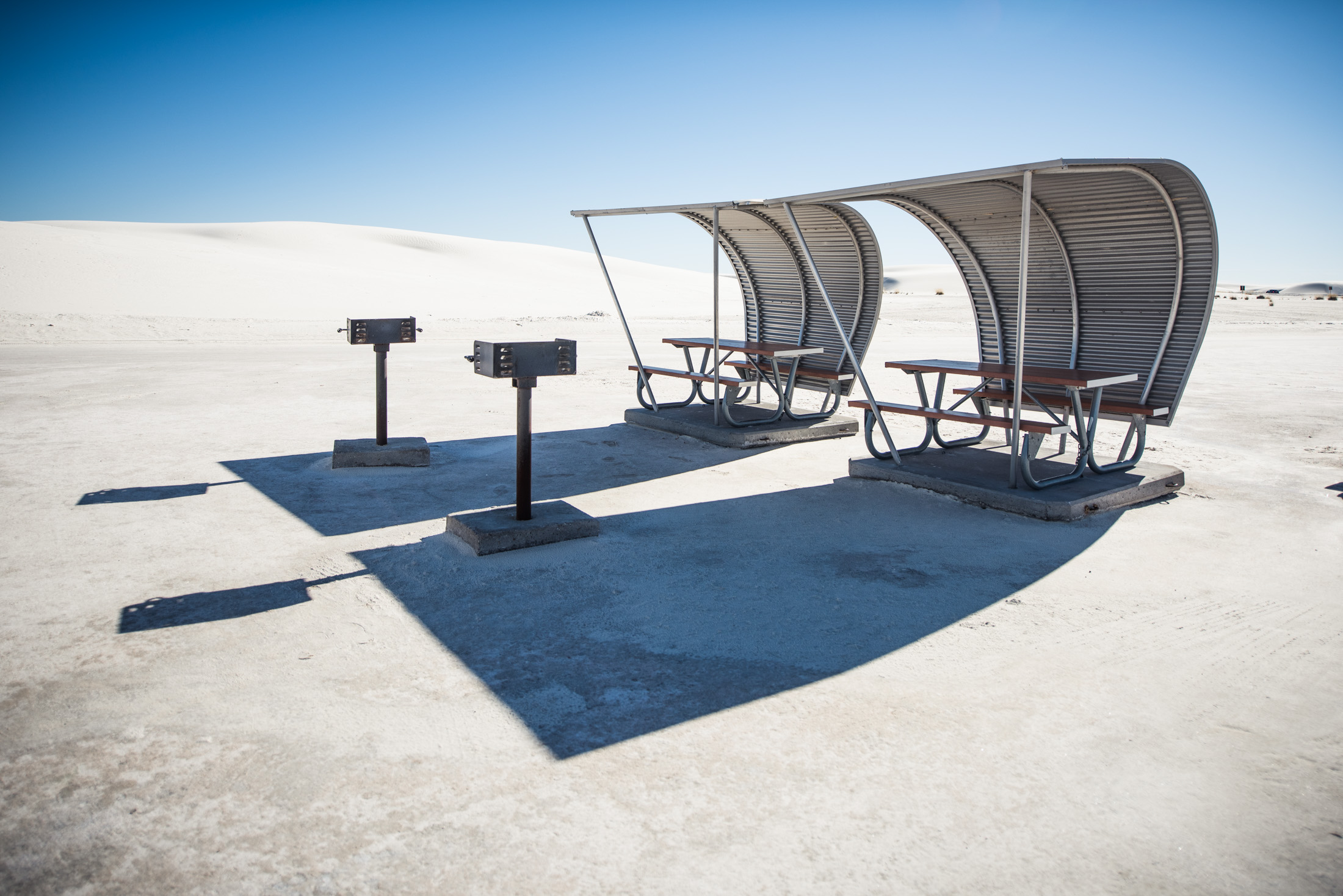 Picnic tables at White Sands National Monument, a place I thrilled to visit as a child.