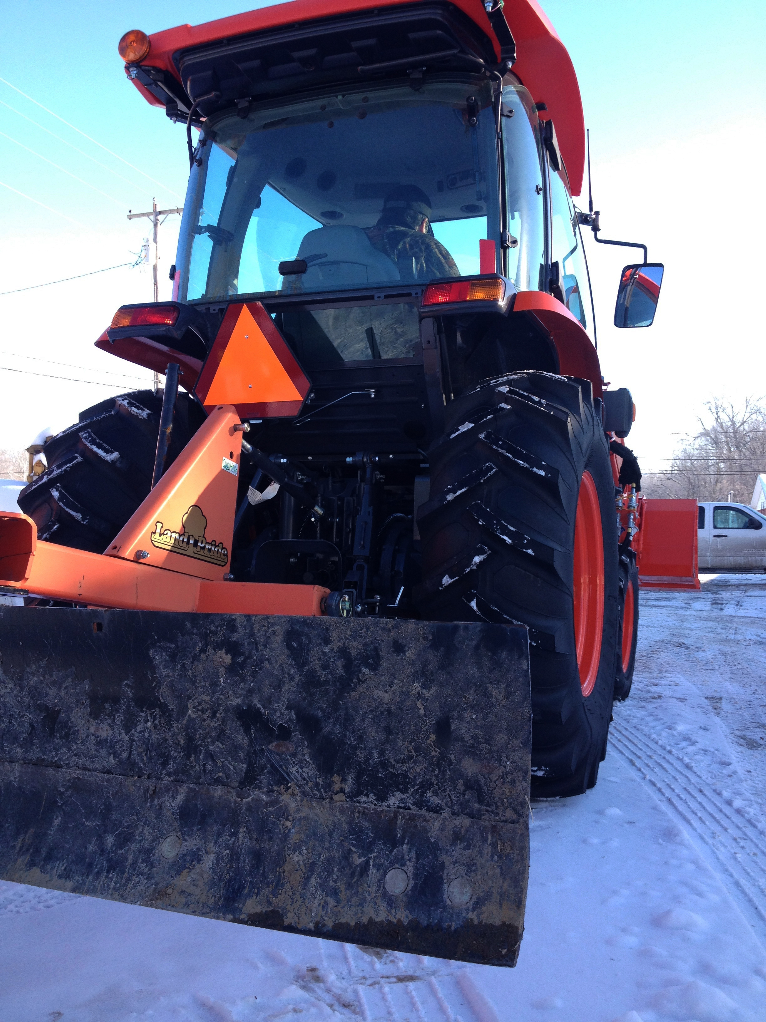 A Kubota L 4060 HSTC (Cab with heater) and a Land Pride RB1570 Rear blade make a great plowing rig!