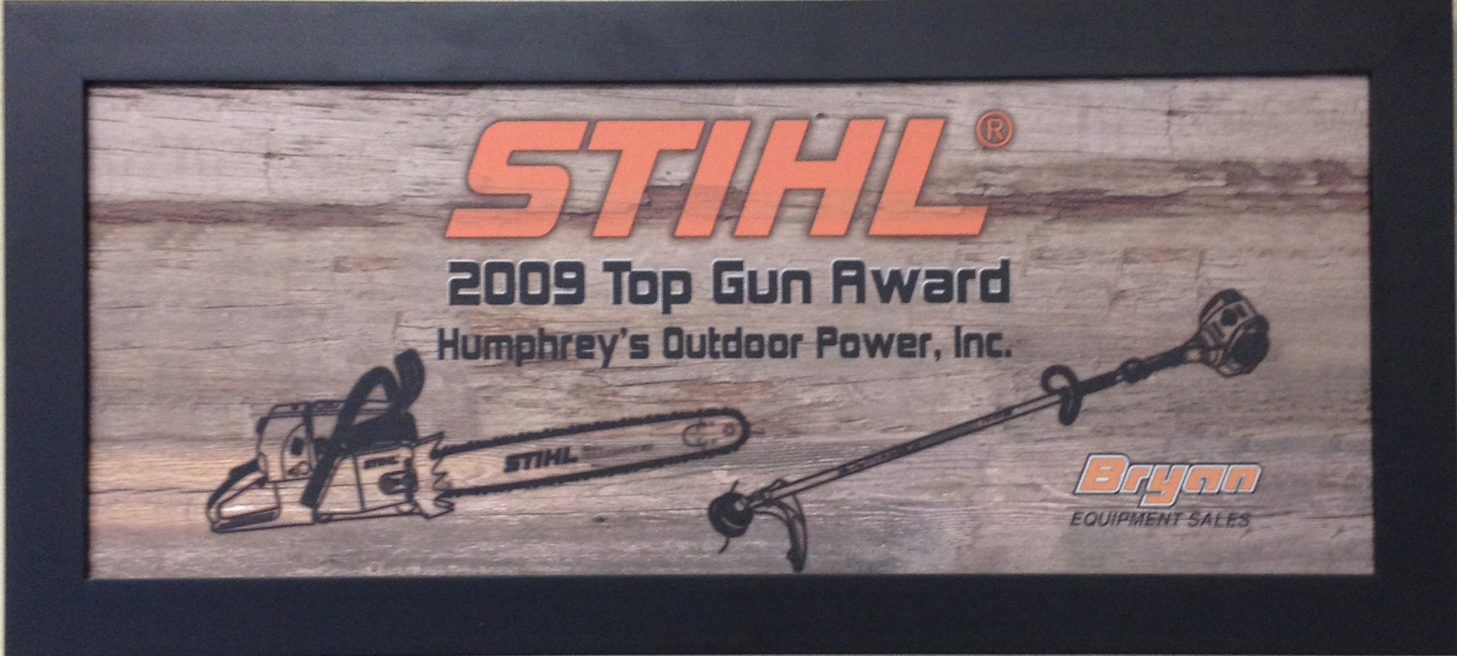 Humphreys' has won the Bryan Equipment Top Gun award every year since 2006! This is awarded for excellence in sales.