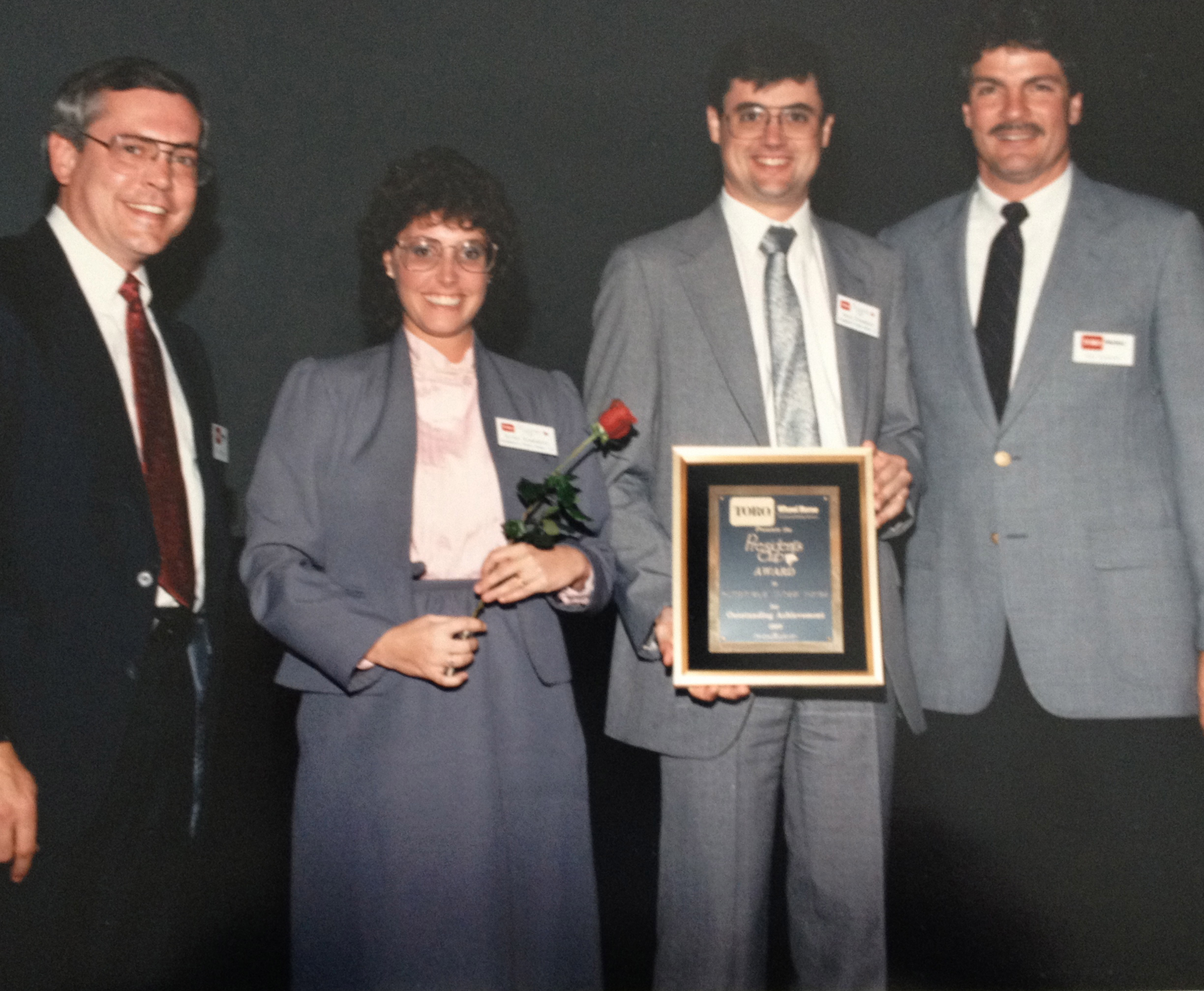 Brian and Kandy Humphreys Accepting the Wheel Horse President's Club award in 1989.