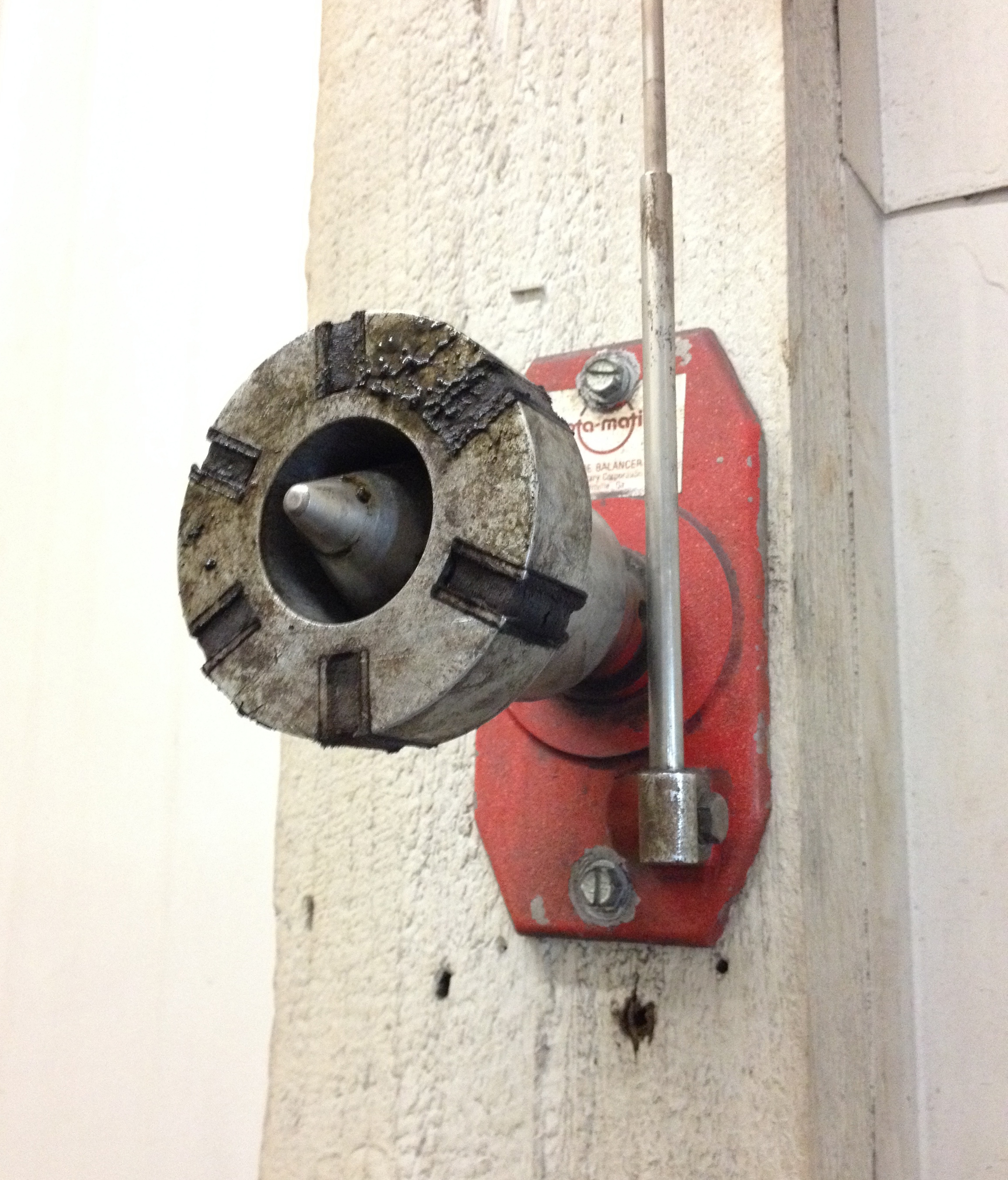 This is the balancing tool we have here at Humphreys to make sure the blades stay centered.