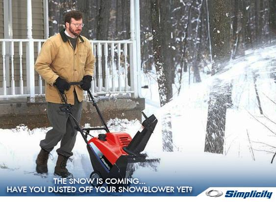 Photo Credit Simplicity - Come see Us For a new Simplicity Blower Today!