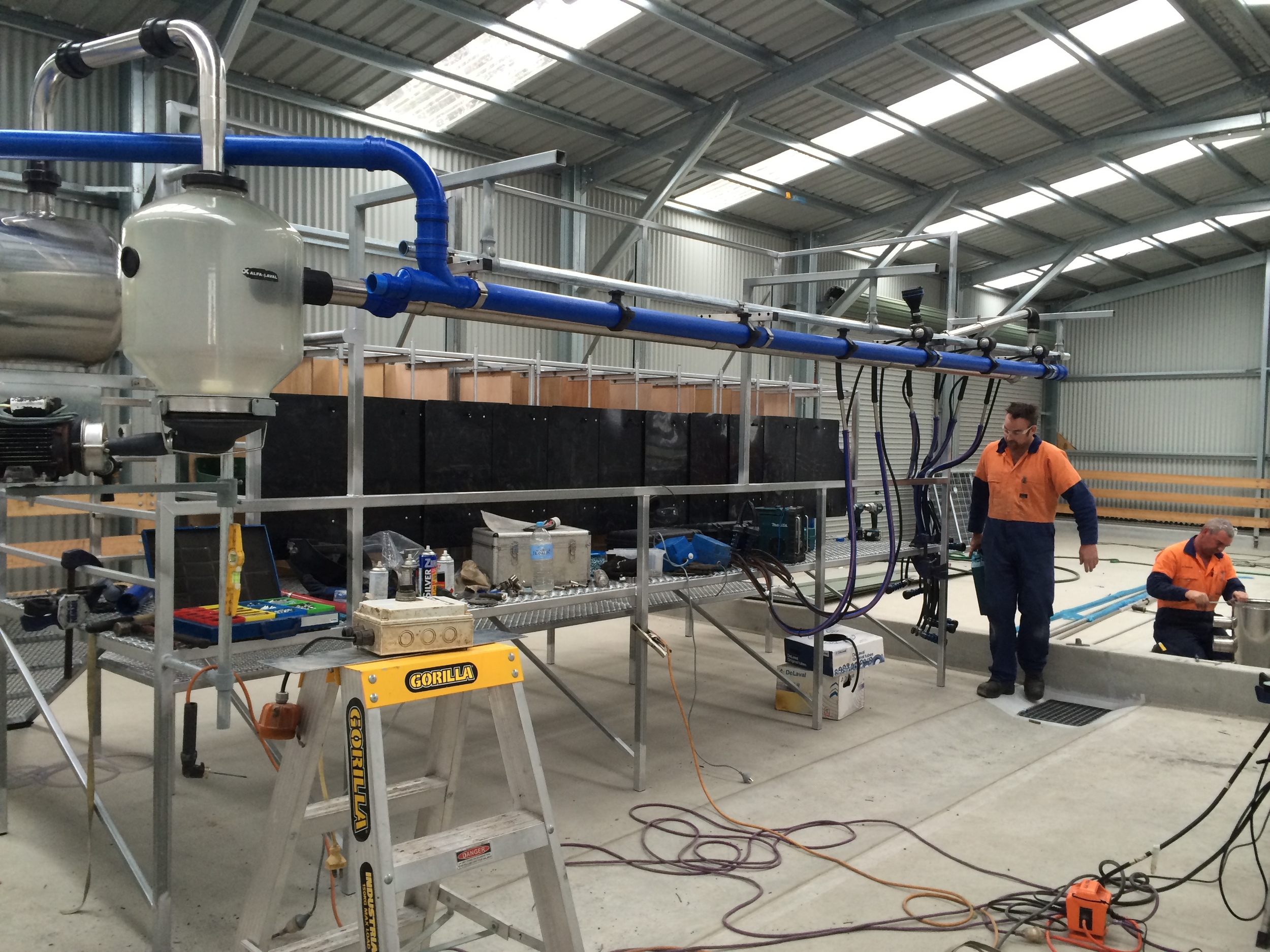 The guys worked hard to get the milking plant installed - 20 November 2014