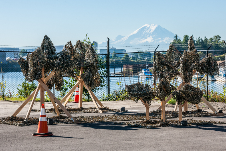 PLANT 2015 art installation at Boeing Plant 2 with Mount Rainier in the background. Photos by Tim McGuire courtesy Boeing Co.