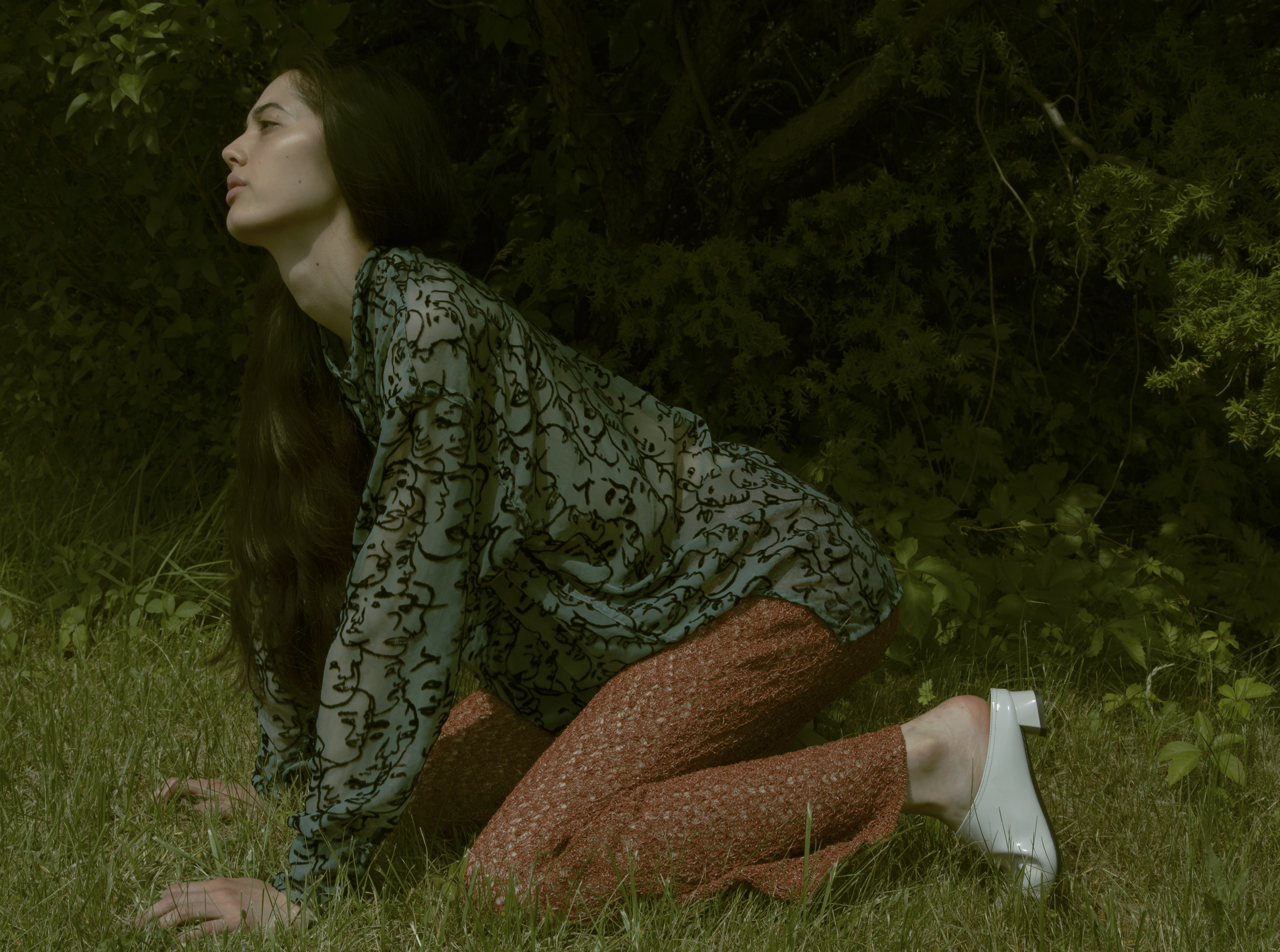 eckhaus latta  shirt, pants from  tV archive , AGL  shoes