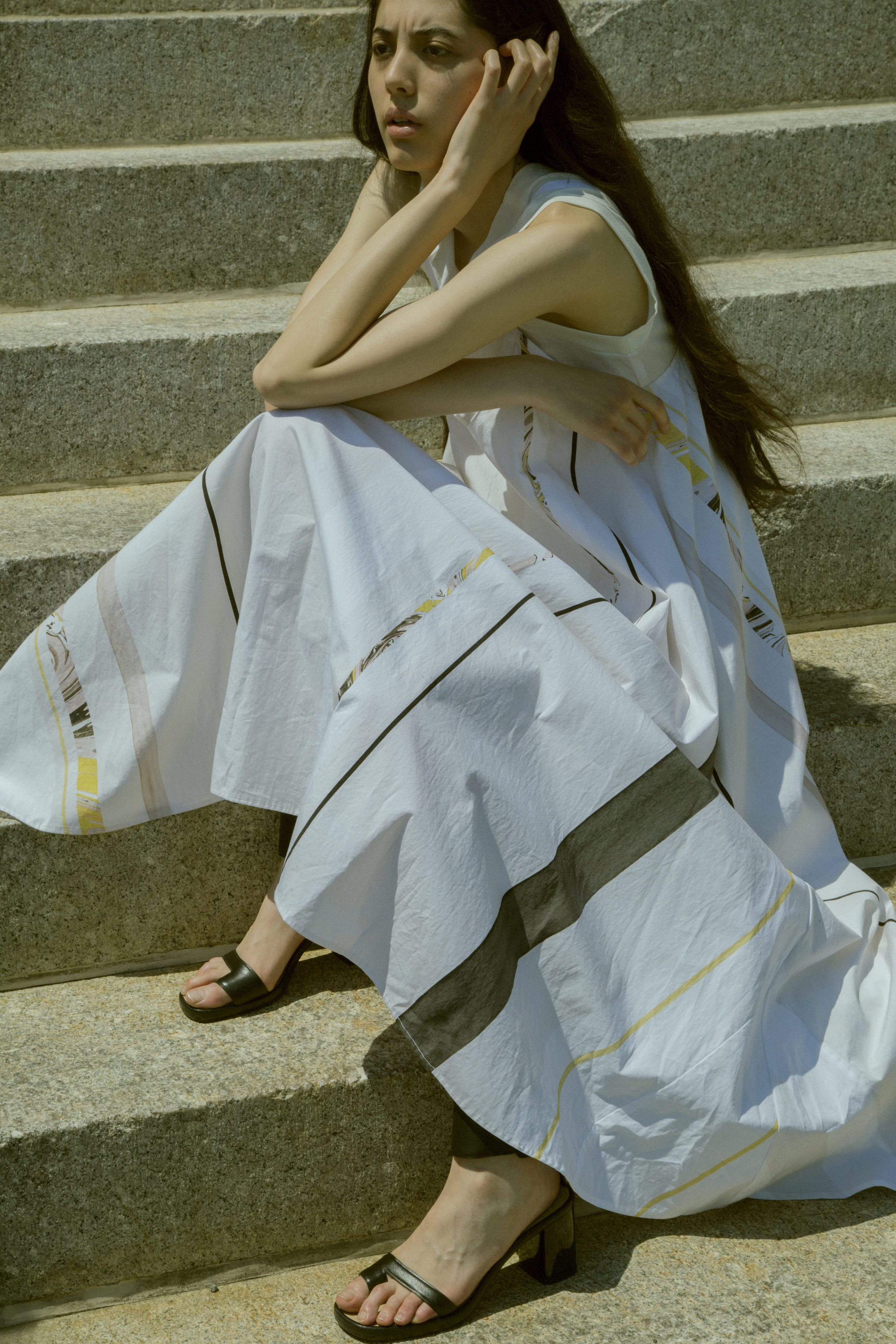 veda dress, not sleeveless top, shoes from  t V archive