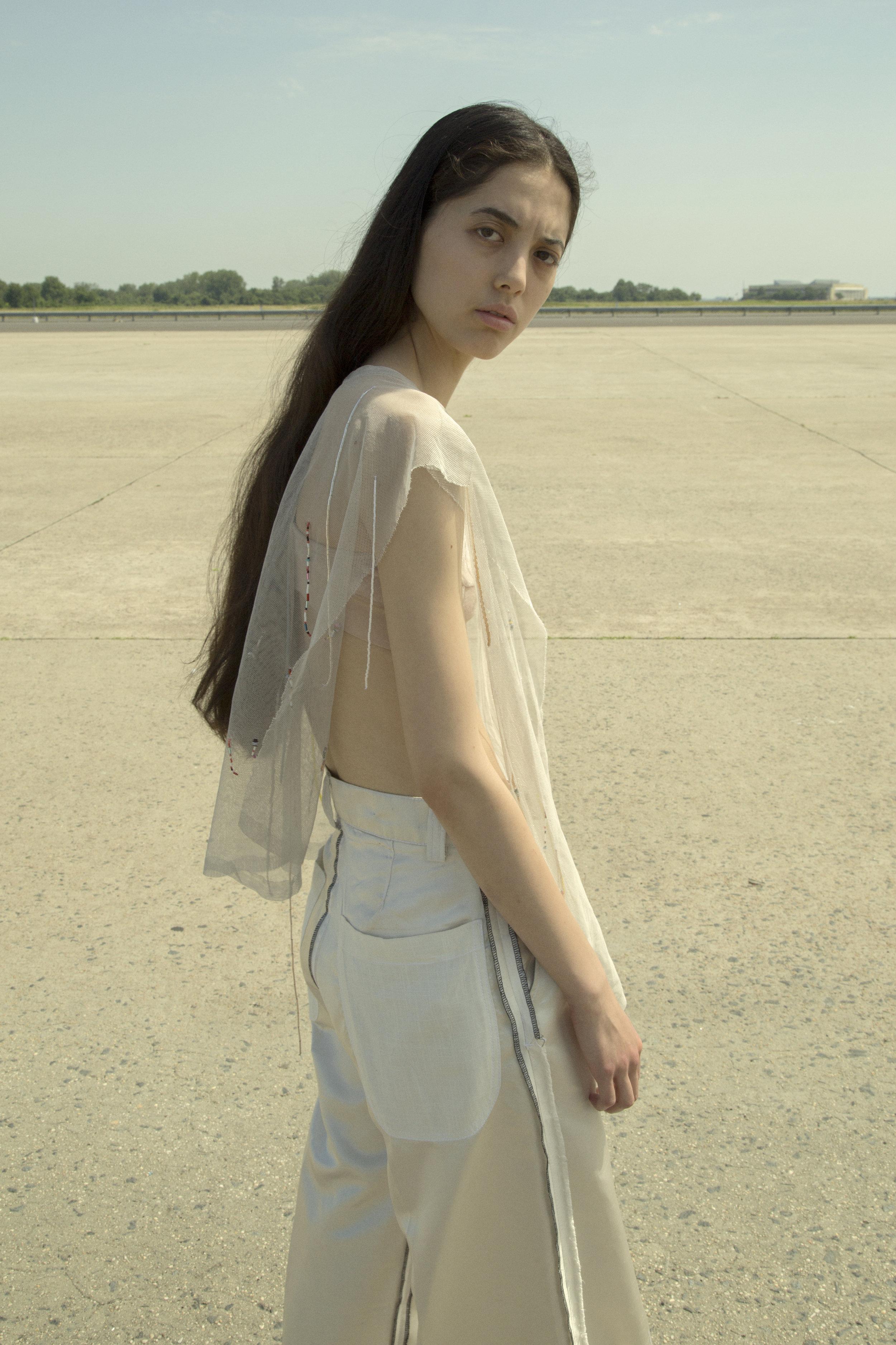 sophie andes-gascon  top, baserange  bra, carl jan cruz  trousers