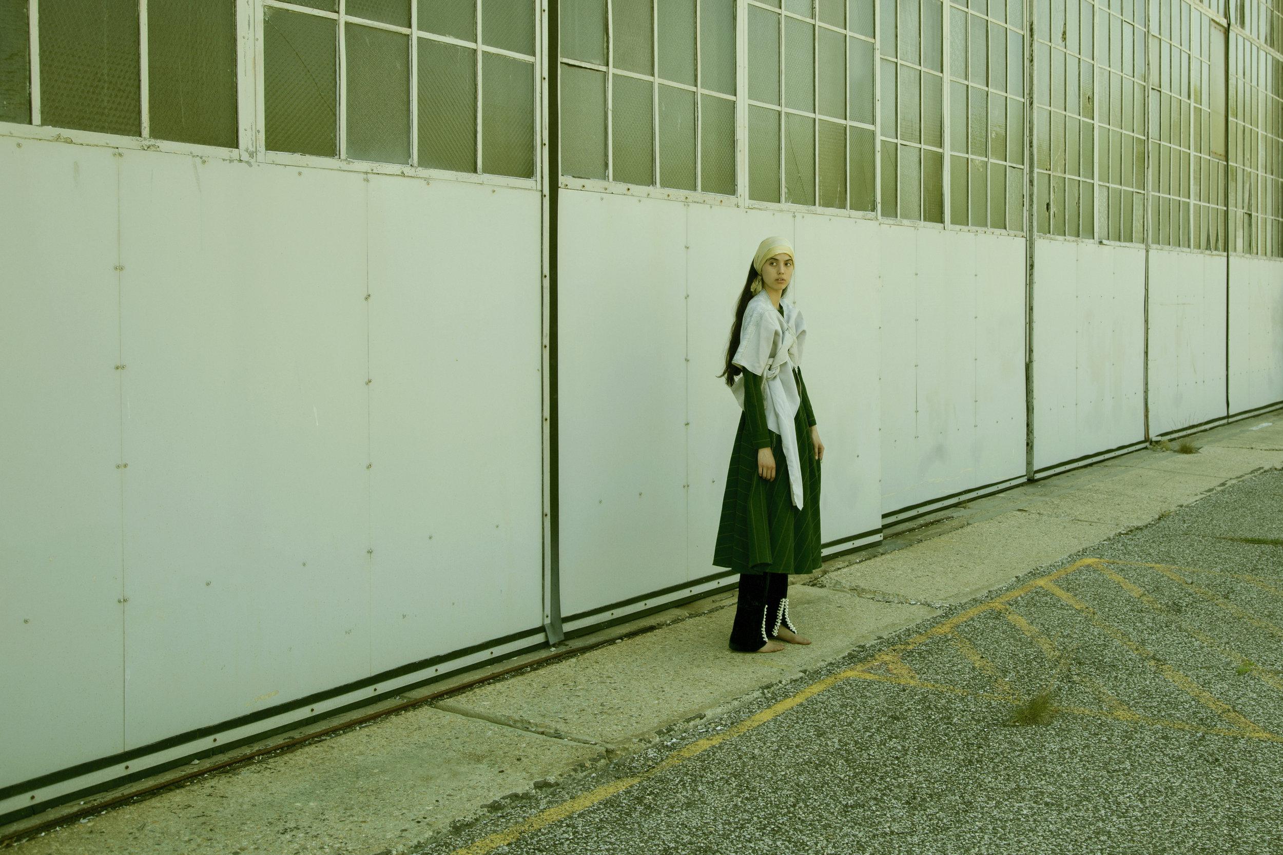 samuji dress,  carl jan cruz jacket, maki oh pants, scarf and stockings from  tV archive