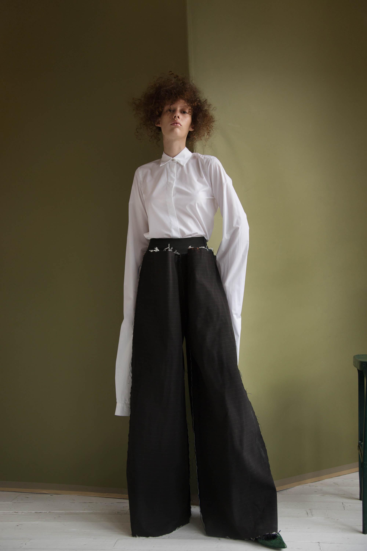 shirt  MM6 Maison Margiela , pants  Seokwoon Studios , shoes  Queenie Cao