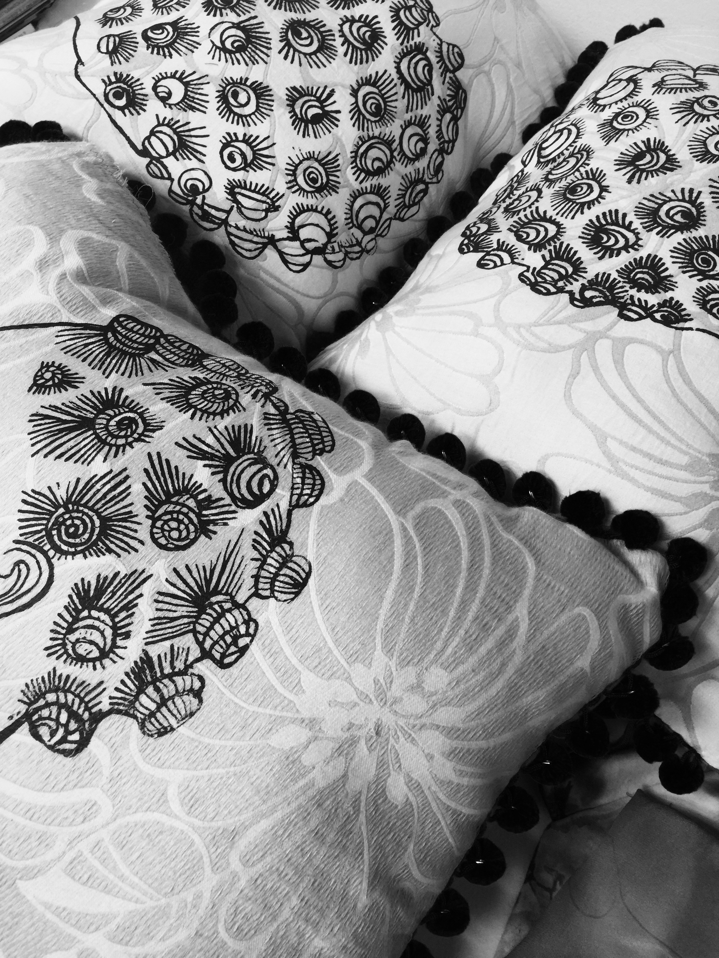 Working on a collection of screen printed decorative pillows on one of kind fabrics.