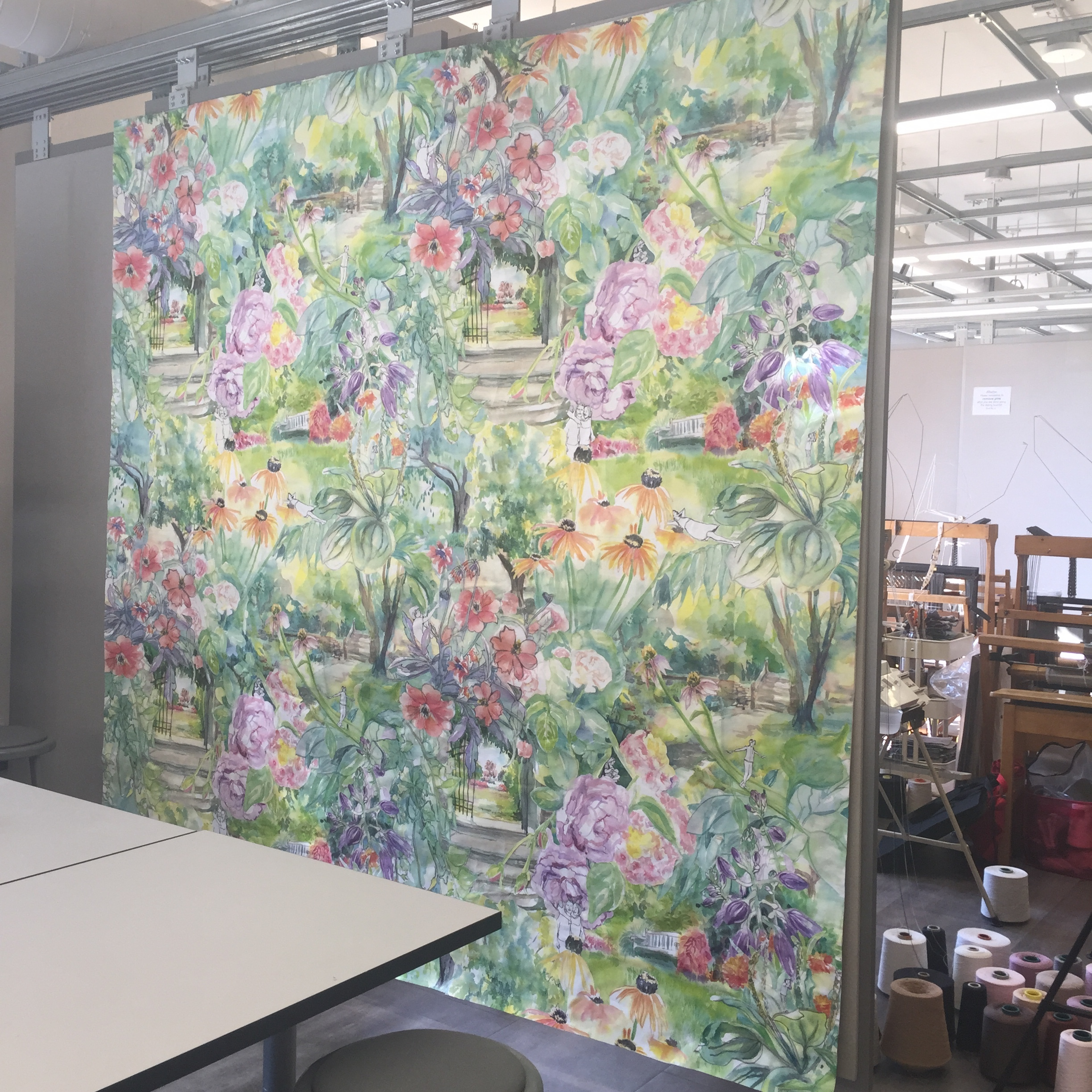 This project is pretty intense however,I am enjoying it. Each week I had to create 10 original watercolor paintings from life that would eventually be scanned, collaged and put into a repeat. The repeat is 4'x4' 8x8 feet total.