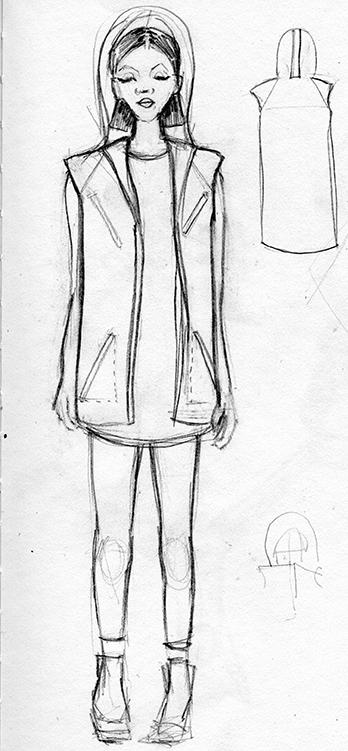 Very rough sketch of my vest idea.