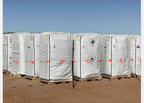 Tesla Powerpacks Staged for Installation at the Kennedy Energy park in north Queensland, Australia.