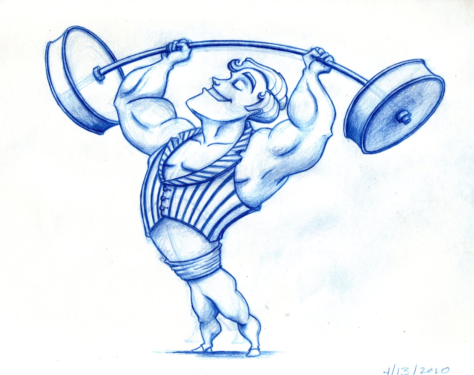 Mr. Strongman presents with some muscle imbalance. And the arch in his back may be due to poor core stability (or shoulder inflexibility). Better go to PT!