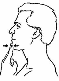 Place your fingers on your chin and protract your chin into your fingers. If you cannot perform without clicking, start with an isometric (no movement).