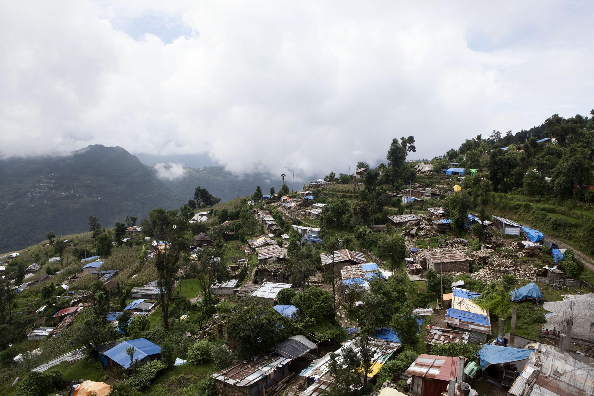 Overview Tauthali Village, Sindupalchowk District, Nepal. August 4, 2015.