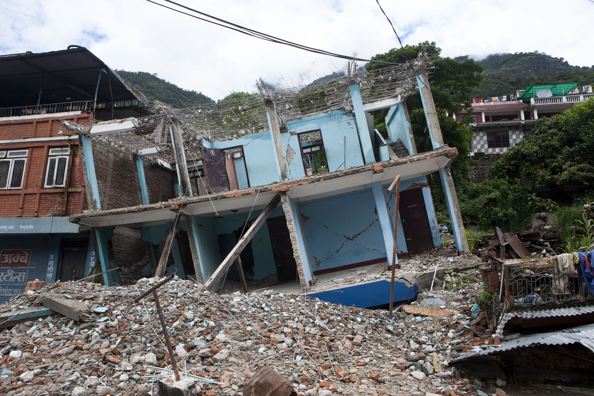 A collapsed building Sindupalchowk district, Nepal. August 2, 2015.