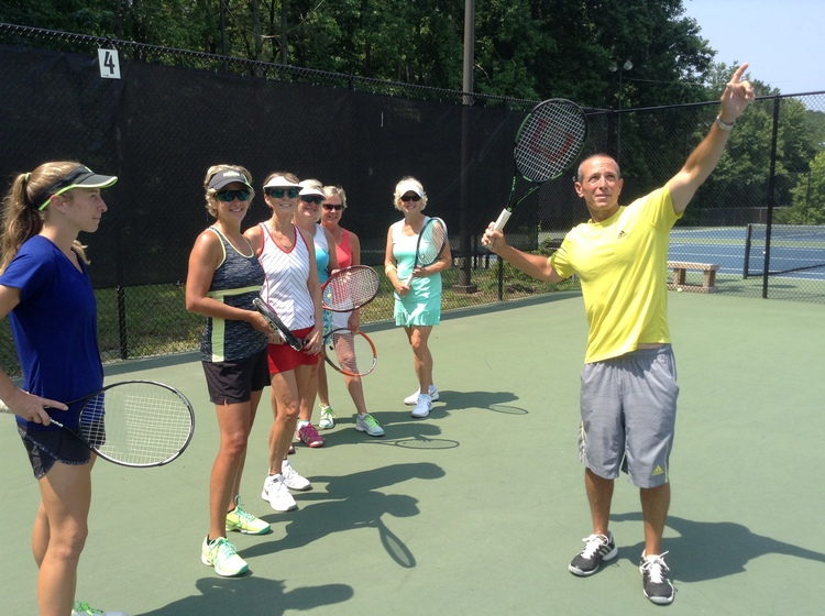 Brian Fleishman, our Director of Tennis, teaching an adult class.