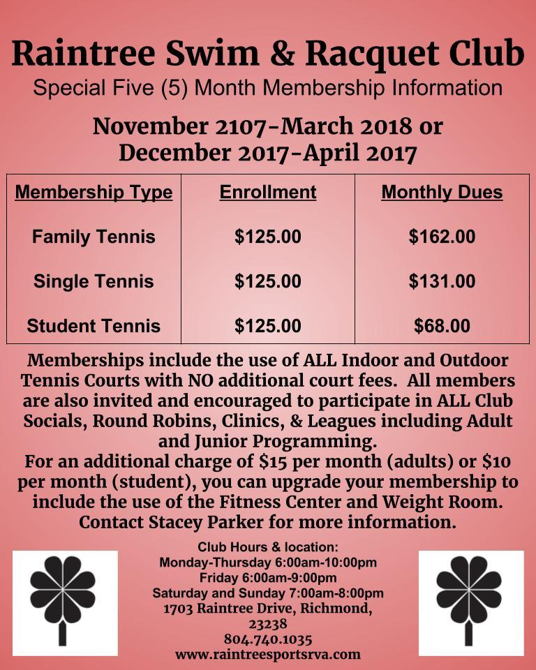 Raintree Swim & Racquet Club Special Five (5) Month Membership Information.jpg