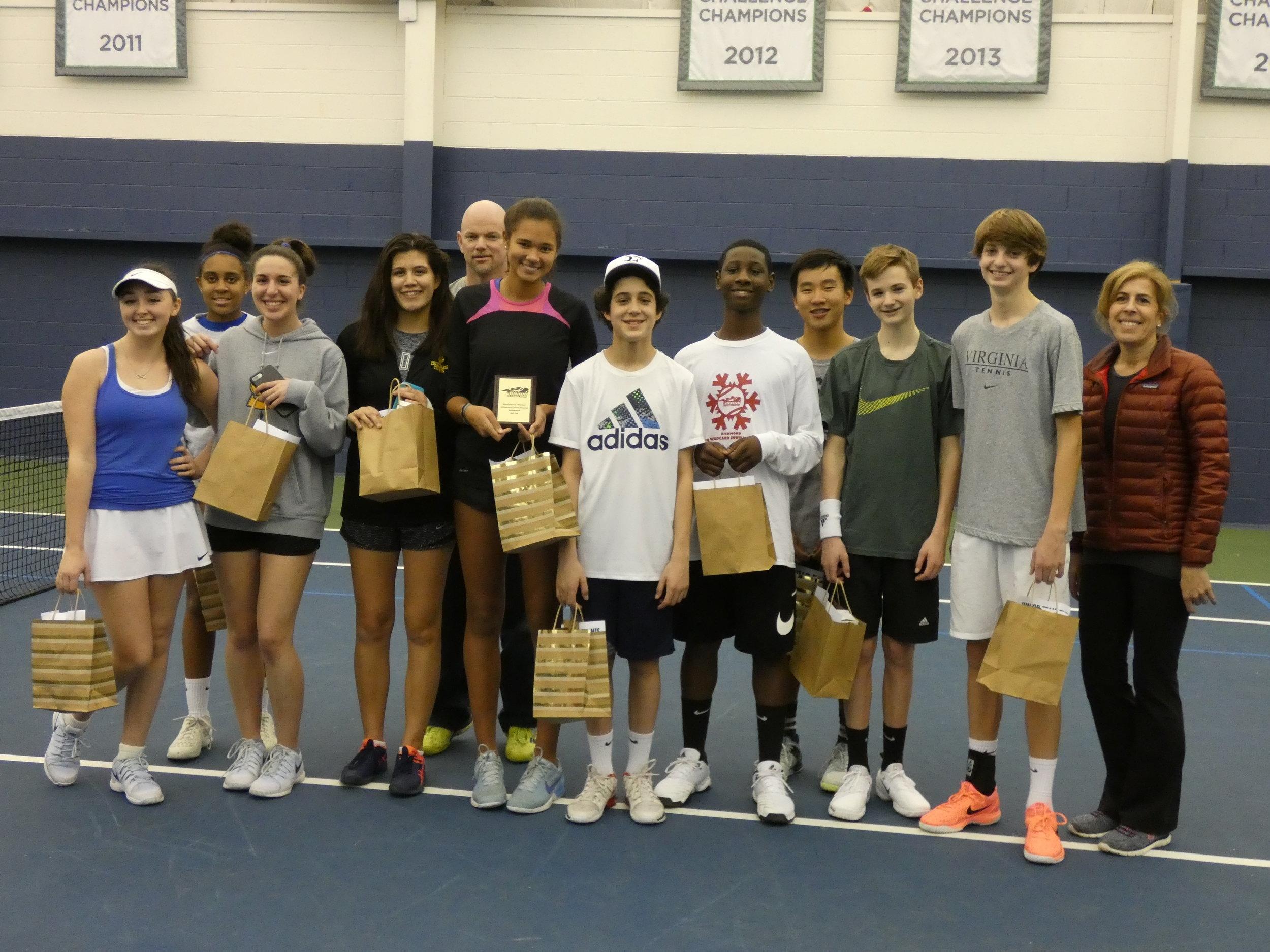Raintree Monroe/Campbell 18 advanced wins the Junior Team Tennis Wild Card Tournament 2/11/18