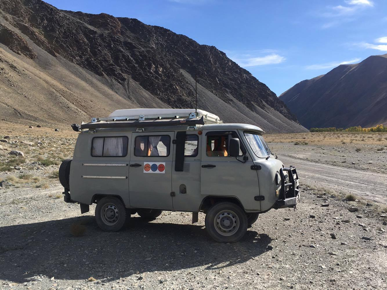UAZ Russian Van 2014 and 2018 Petrol, Manual transmission, Great Off road vehicle for a group, 6-8 passenger will fit - All our vehicles are equipped with ARB bumper and winches.We will provide 2 extra tires along with Tool kit with necessary spare parts, Camping kit, Cooking gears, gas stove, water container, pots and pans, forks, knives and cutlery.Roof tents are available and can be installed.
