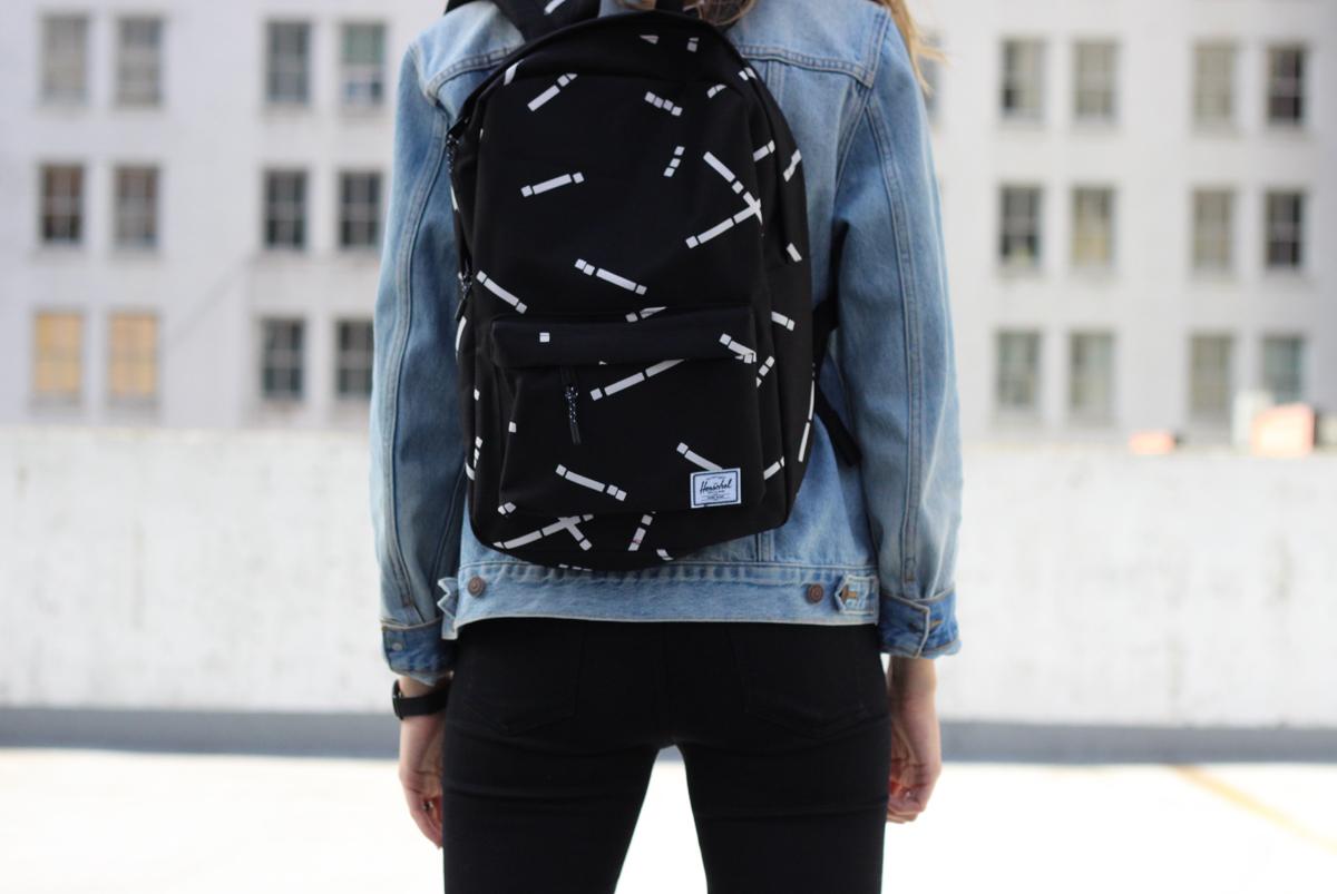 S -  Levis 501 Jacket  /  Zara basic tee  ( similar ) /  Citizens of Humanity jeans  /  Herschel   Classic backpack  /  Axel Arigato  ( similar )  L -  Cotton On kids jacket  ( similar ) /  H&M white bodysuit / Fox pants /  Adidas All-stars  /  Herschel  Pop Quiz backpack