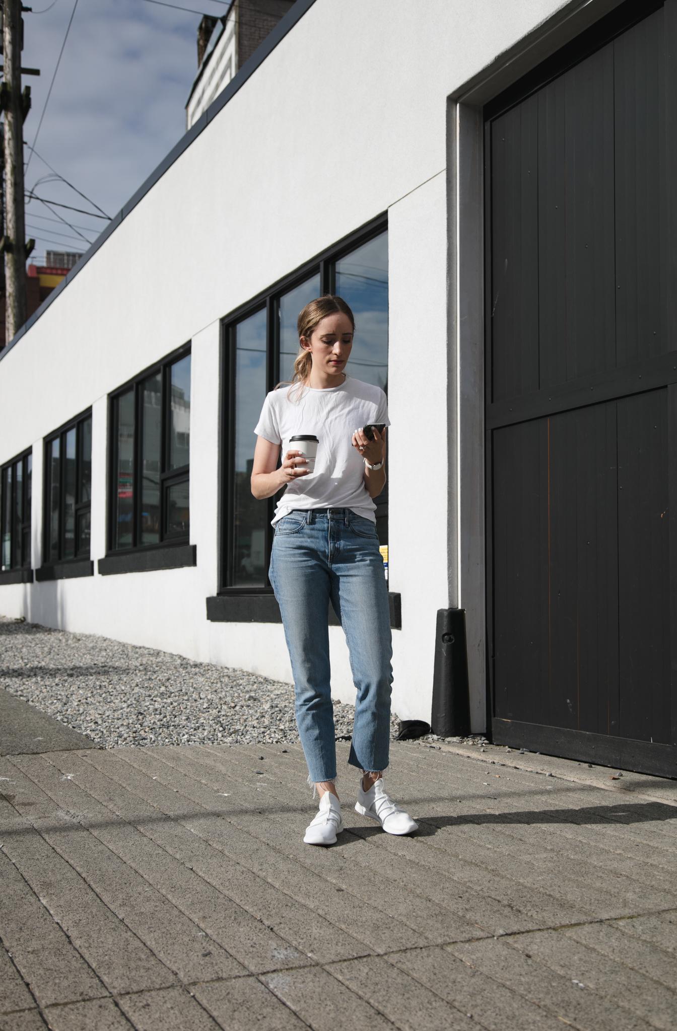 Zara basic tee ( similar ) /  Helmut Lang jeans  /  Skye Footwear 'Rbutus' sneaker  /  Daniel Wellington watch  (enter to win below)