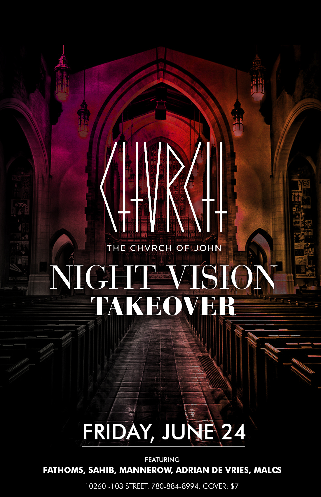 Chvrch of John and Night Vision in downtown Edmonton