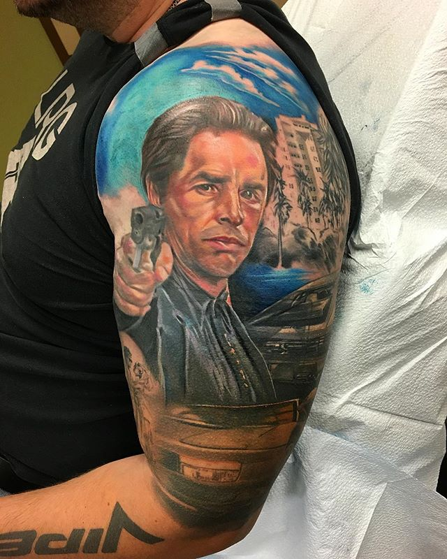Got a chance to work on this Miami Vice cover up half sleeve yesterday.  It's covering a giant, solid black Viper logo (like the car)  #coveruptattoo #portraittattoo #coverup #viper #miamivice #donjohnson #ferrari #testarossa #colorportrait #realism #realistictattoo #fullcolor #wip #orangecounty #costamesa #socal #losangeles #nyc #newyork #sandiego @outerlimitscostamesa @inkeeze @hustlebutterdeluxe @kwadron @equaliser_usa @criticaltattoosupply @fkirons @eternalink @silverbackink @inkedmag @inkjunkeyz @skinart_mag @inkspiringtattoos @inkspiringtattoos @letsgetinkedusa @xtatts @tattooistartmag @tattoos_of_instagram @tattoo_art_worldwide @crazyytattoos @superb_tattoos @tattoolifemagazine @radtattoos @ultimatetattoosupply
