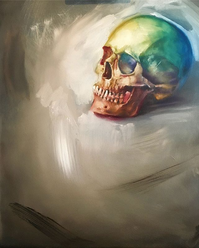 Picked up the brushes again the other day after not painting in oils for about 2 years.... 16x20 on canvas  #oilpainting #oil #painting #painter #fineart #art #canvas #skull #highkey #rawumber #moody #paintstudy #paintsketch