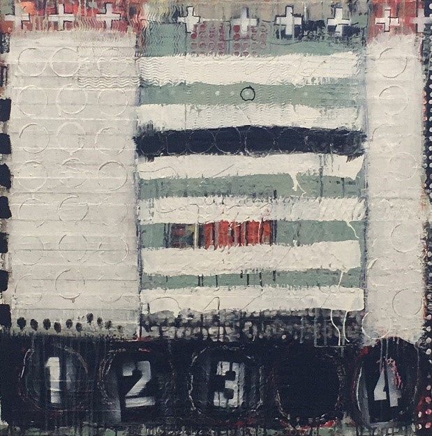 """Between 3 and 4 pm  ACRYLIC/MIXED MEDIA ON CANVAS 30"""" X 30"""""""