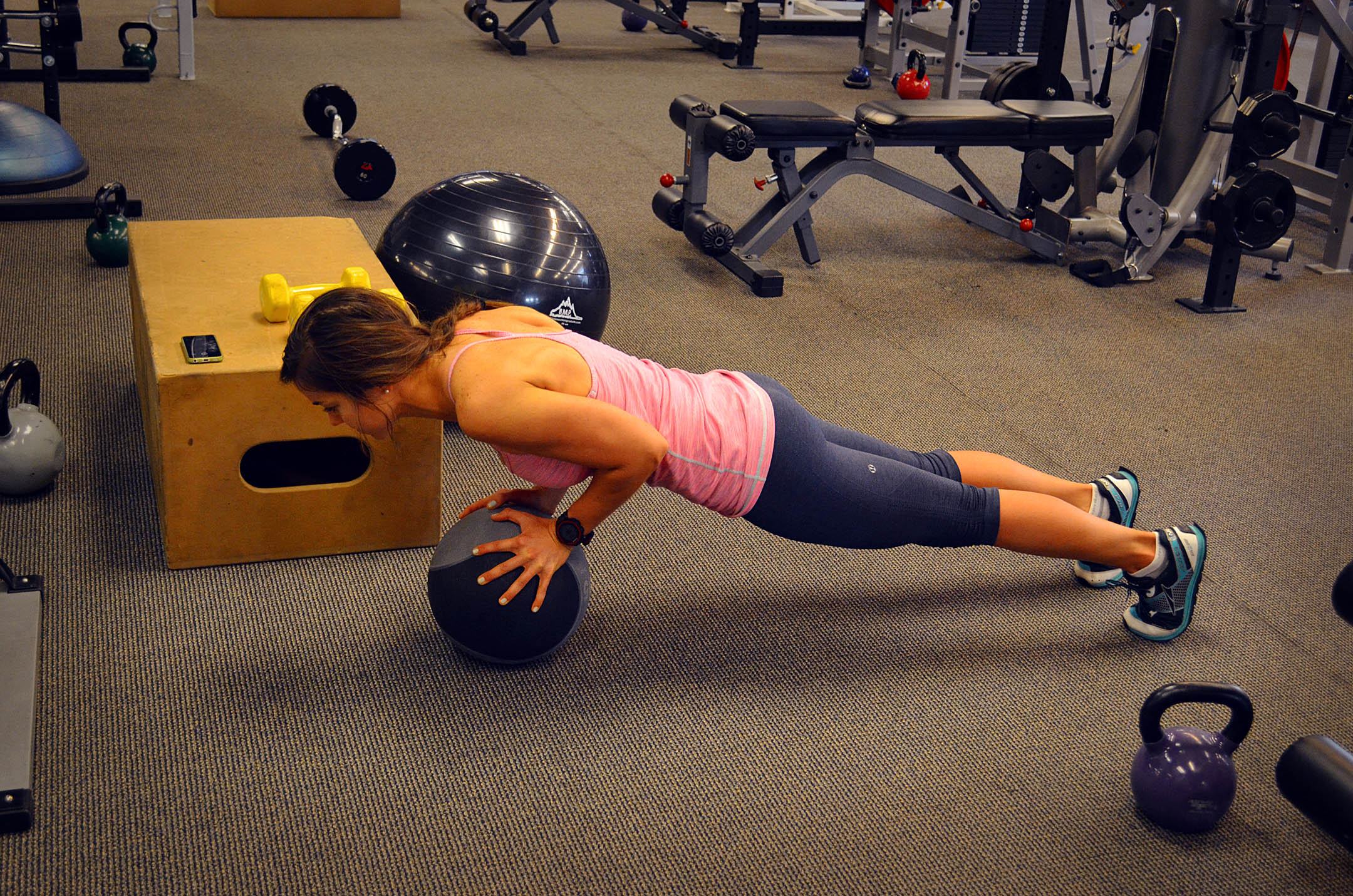 tricep pushups on medicine ball