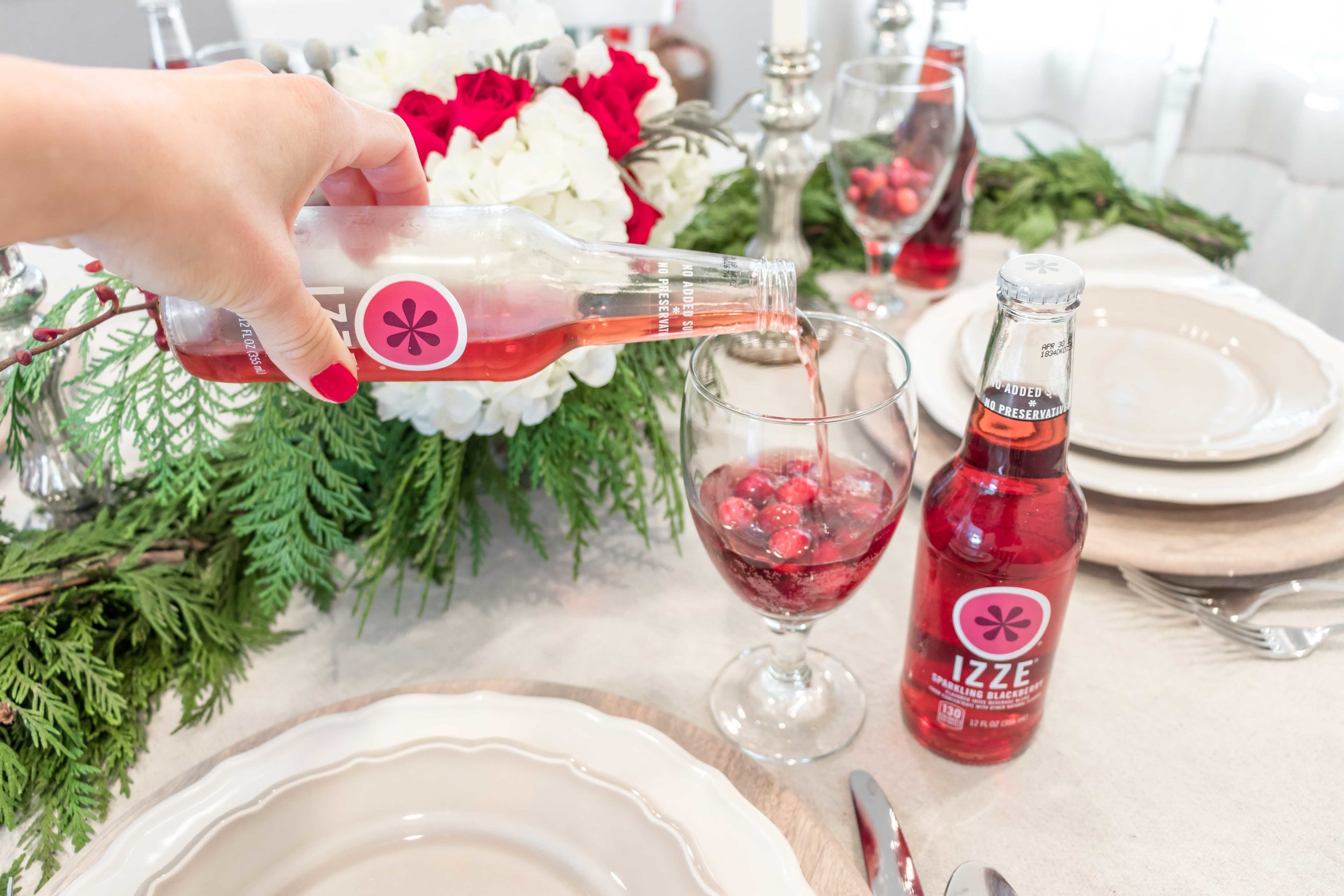 christmas dinner with IZZE drinks