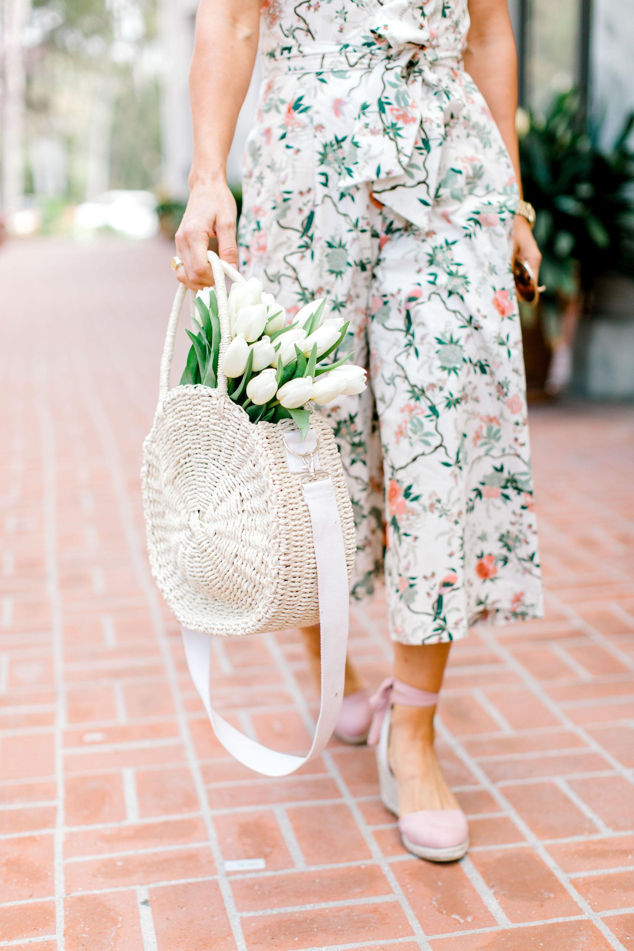 styling a floral jumpsuit
