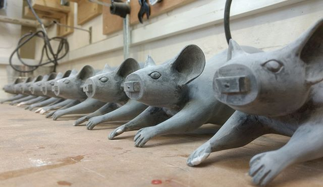 Flashback Friday - The fibreglass mice for the Wishing Clock in Cheltenham, awaiting their rubber noses. . . . . #sculpture #artwork #design #installation #fabricator #propmaking #craftspeople #designfabrication #maker #bespoke #artfabricators #modelmaking #modelmakers #manufacturing #art #fibreglass