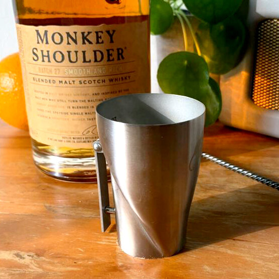Monkey Shoulder Whiskey Shot Measurer with trigger arm
