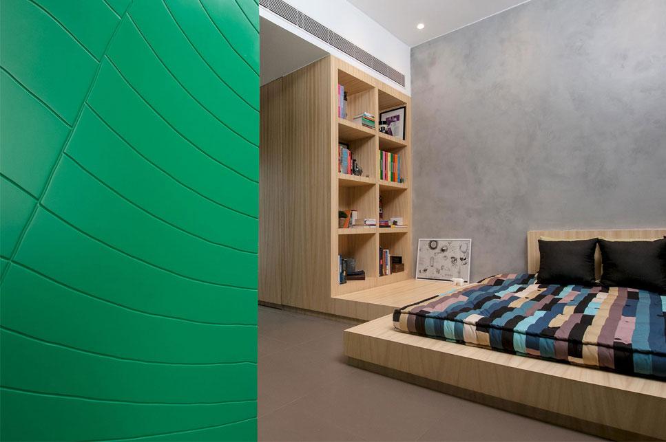 BEDROOM 1 WARDROBE DETAIL + BOOK SHELF