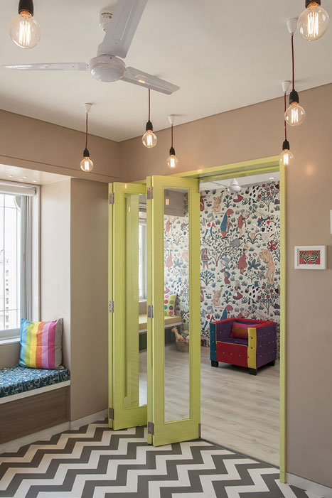 LOOKING BACK AT PLAYROOM FROM BEDROOM
